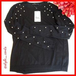 ❣️🎁NWT Zara Pearl Black Knit Sweater❣️